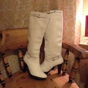 Gorgeous White Leather Knee High Boots